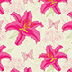 Pattern with Red Flowers and Butterflies - GraphicRiver Item for Sale