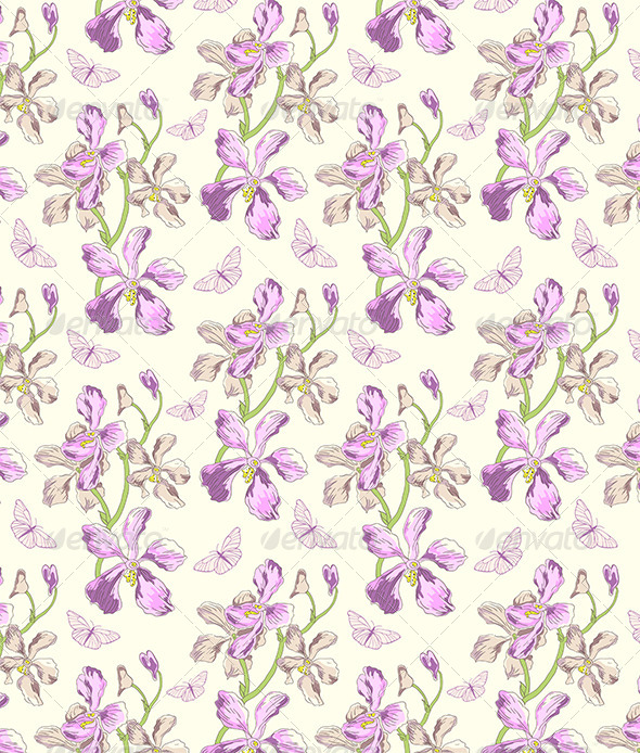 GraphicRiver Pattern with Orchids and Butterflies 8522167