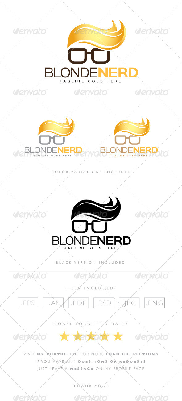 GraphicRiver Blonde Nerd Logo 8522176