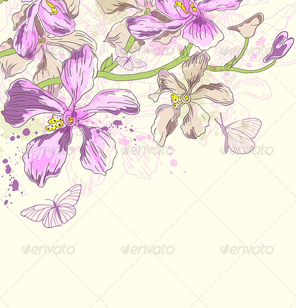 GraphicRiver Background with Orchids and Butterflies 8522210