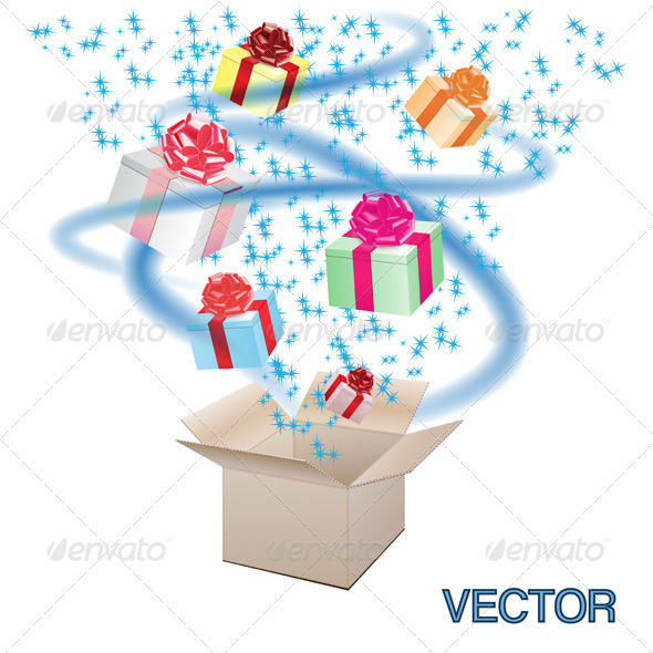 GraphicRiver Open Cardboard Box with an a Gifts 8522237