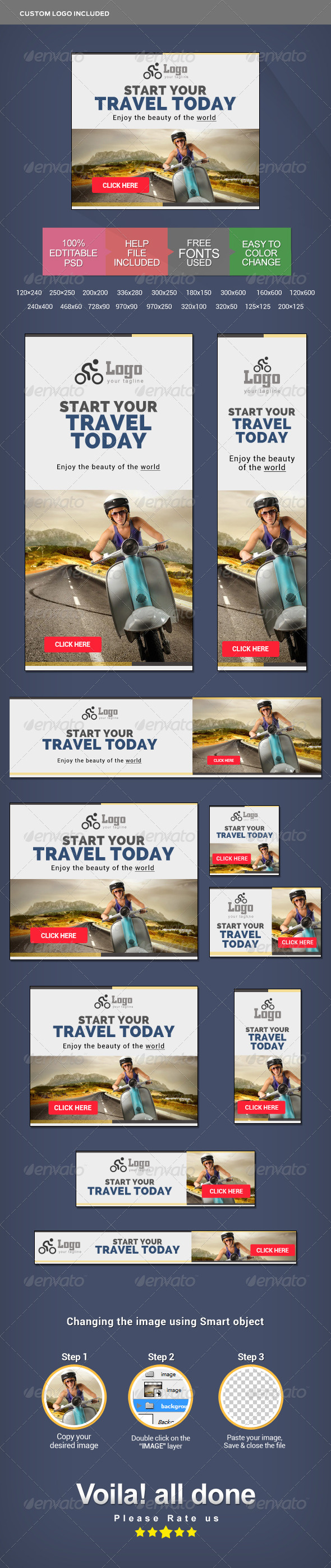 GraphicRiver Travel Marketing Banner Set 8522377