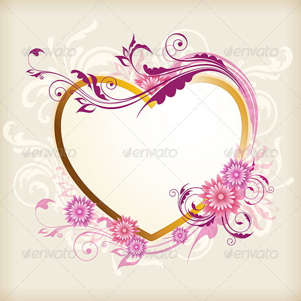 GraphicRiver Heart and Pink Flowers 8522465