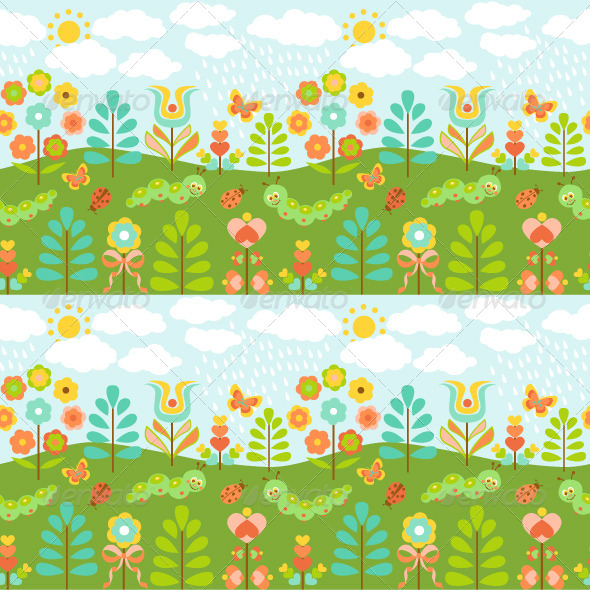 GraphicRiver Floral Background with Ladybirds 8522502