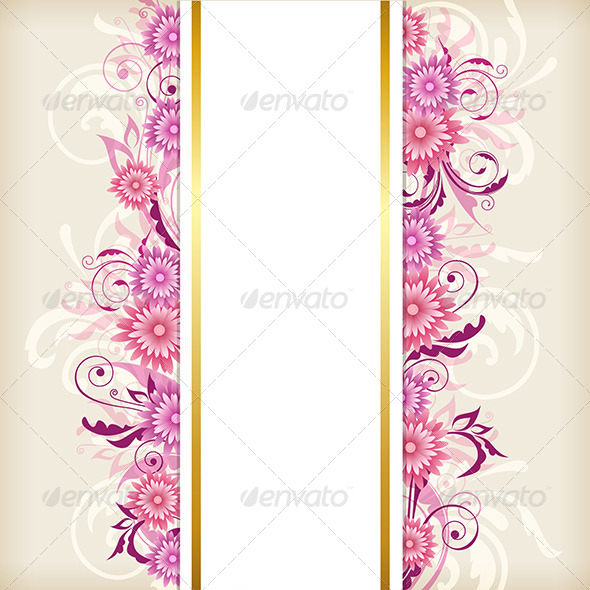 GraphicRiver Vertical Banner with Pink Flowers 8522542