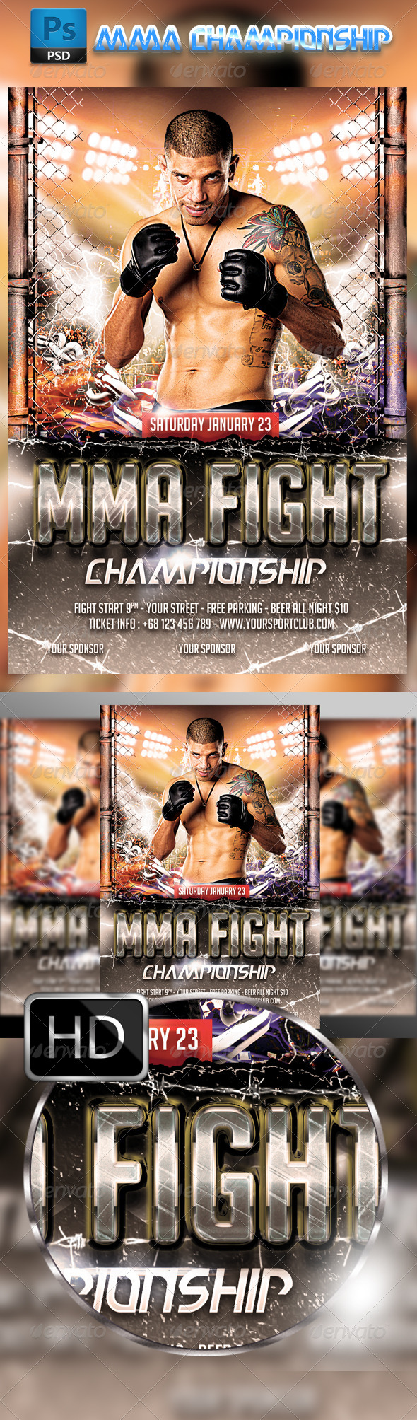 GraphicRiver MMA Fighting Flyer Template 8489397