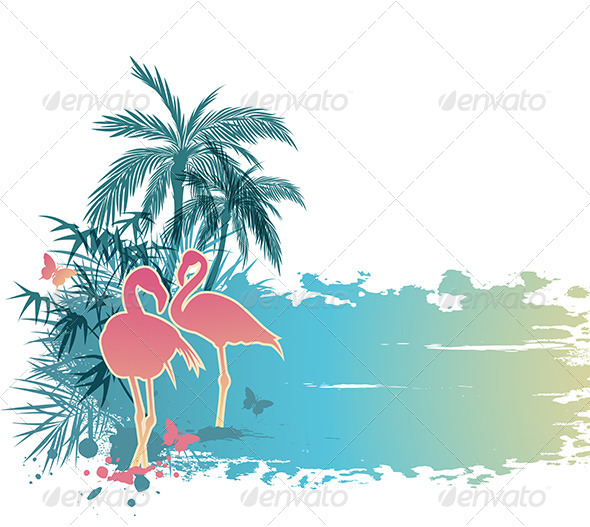 Palms and Flamingo