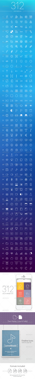 GraphicRiver 312 Line Icons 8491313