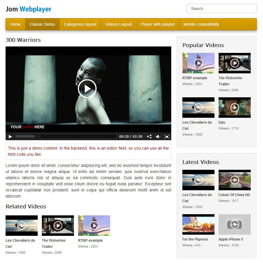 Jom Webplayer - A Joomla Video Gallery Extension - 2