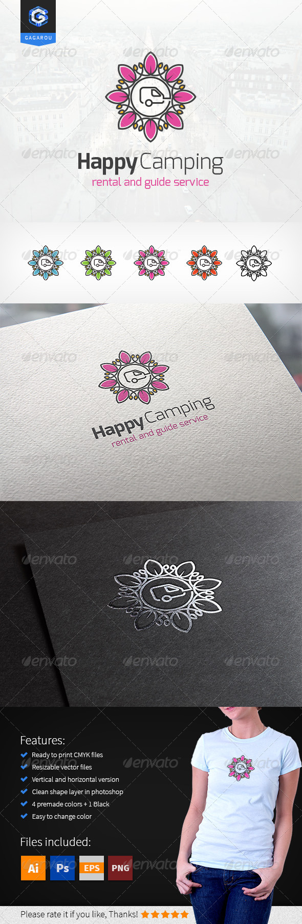 GraphicRiver Happy Camping logo 8522871