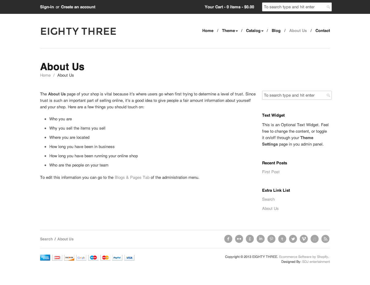 Eighty Three - Responsive Shopify Theme