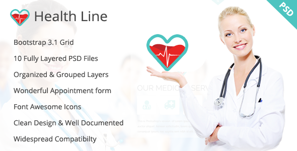 ThemeForest Health Line Medic PSD Template 8493016