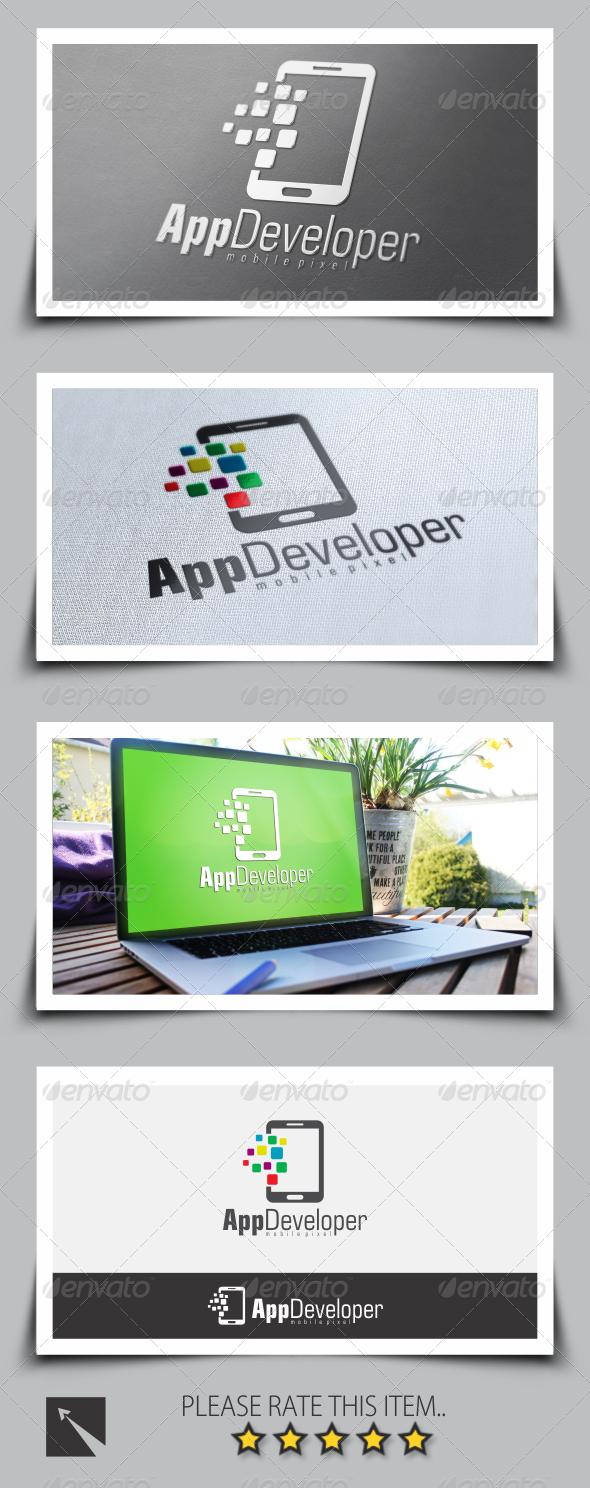 GraphicRiver Pixel Mobile App Developer Logo 8524362