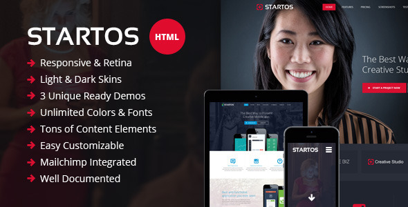 Startos - Responsive HTML5 Landing Page - Landing Pages Marketing