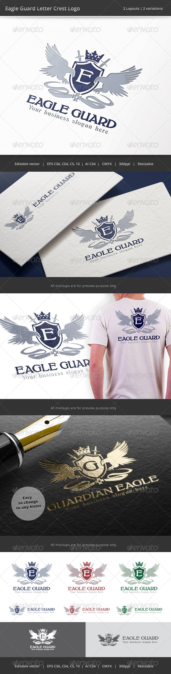 GraphicRiver Eagle Guard Letter Crest Logo 8524874
