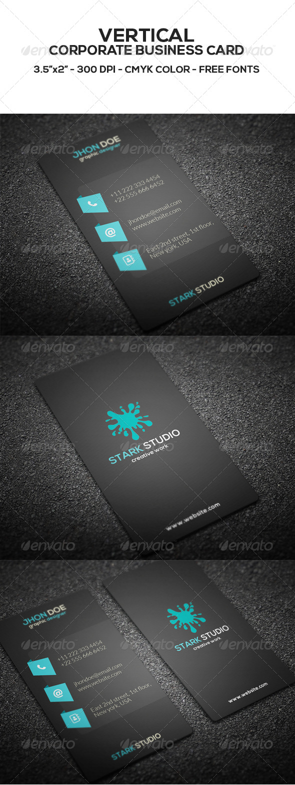 GraphicRiver Vertical Corporate Business Card 8525178