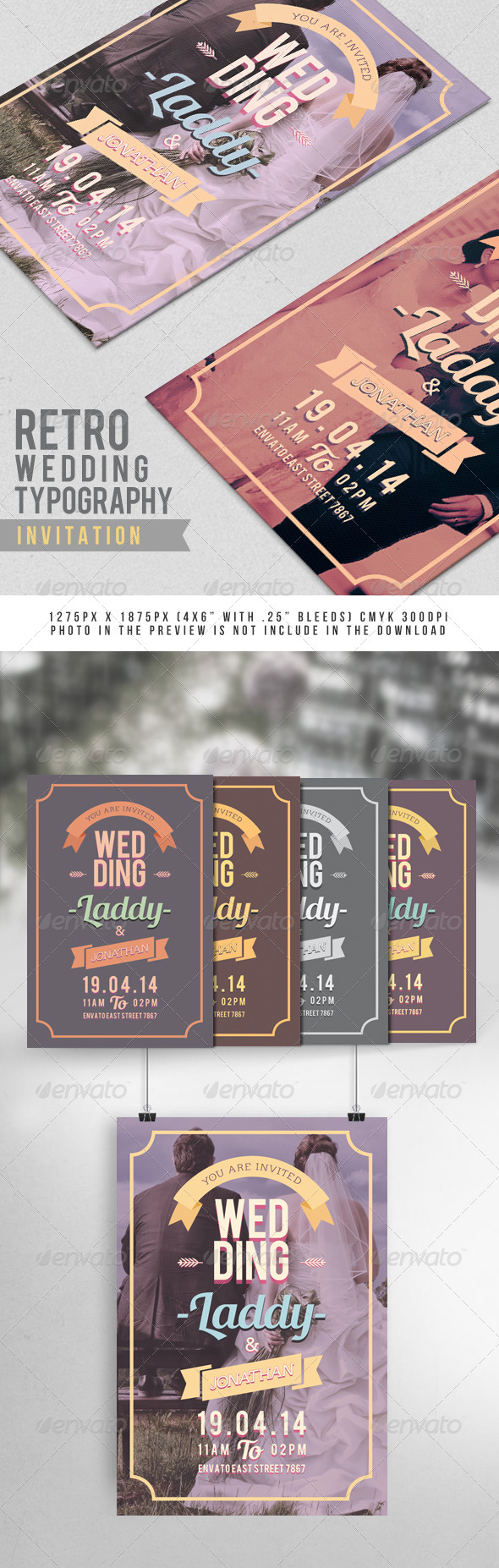 Retro Wedding Typography Invitation - Weddings Cards & Invites