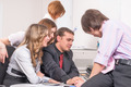 Successful business team conducts discussion in front of computer in office - PhotoDune Item for Sale