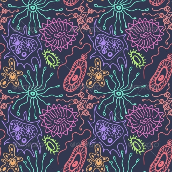 GraphicRiver Seamless Pattern with Bacteria 8525575