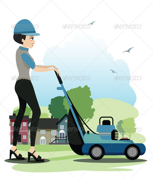 GraphicRiver Woman Working Mowers 8526022