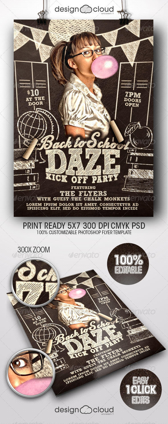 GraphicRiver Back to School Daze Party Flyer Template 8526072