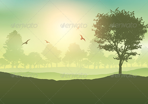 GraphicRiver Tree Lined Landscape 8526087