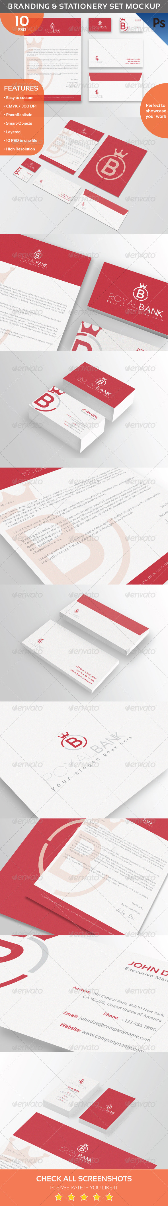 GraphicRiver Branding & Stationery Set Mockup 8526196