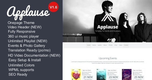Applause -One-Page Responsive Music & DJ WP Theme