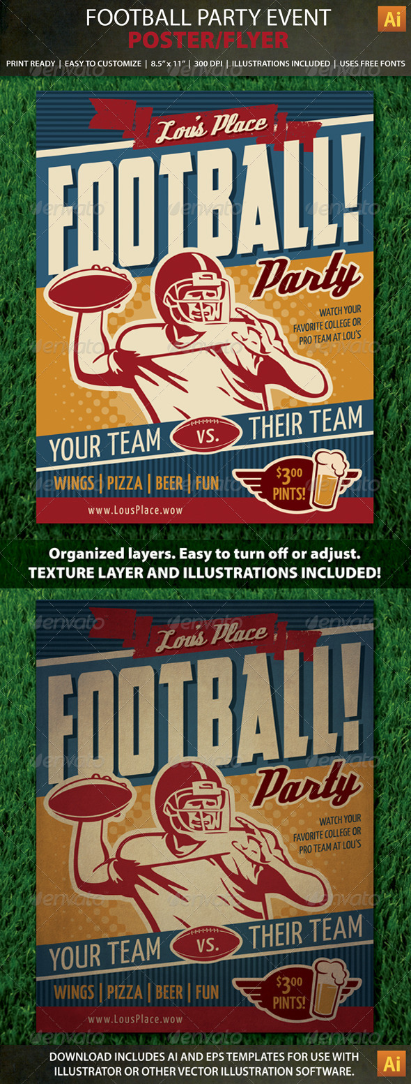 GraphicRiver Retro Football Party or Event Poster Flyer 8526085