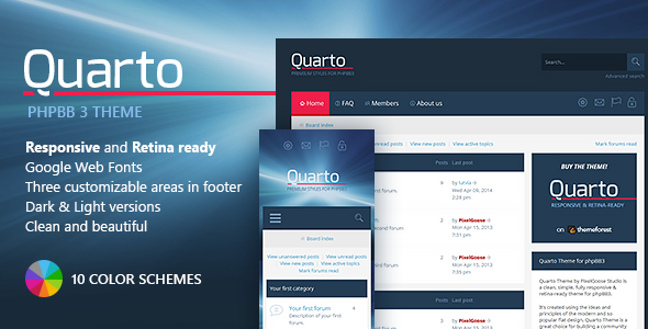 ThemeForest Quarto phpBB3 Responsive & Retina Ready Theme 8526816