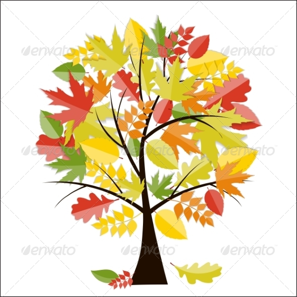 GraphicRiver Shiny Autumn Natural Tree Background 8526862