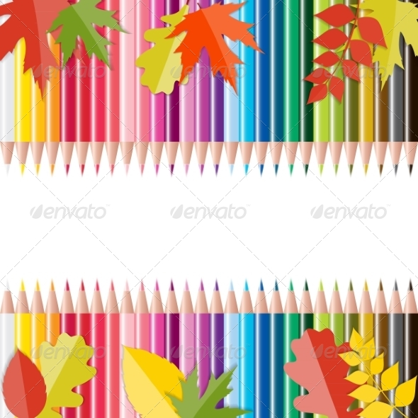 GraphicRiver Back to School Background with Leaves and Pencils 8526879
