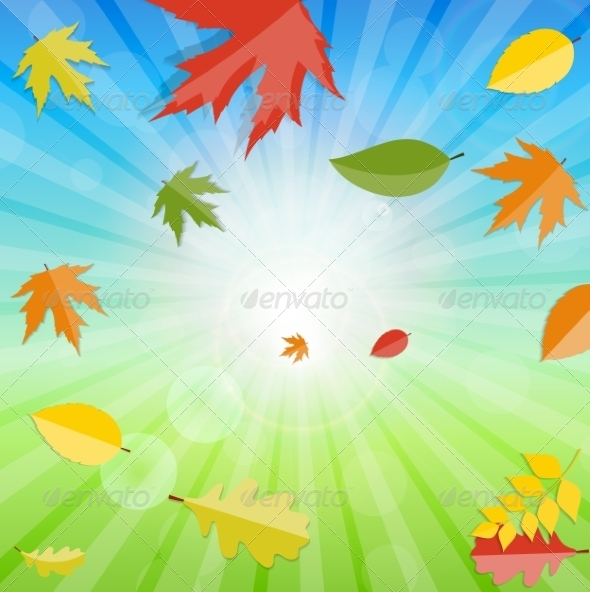 GraphicRiver Shiny Autumn Natural Leaves Background 8526890