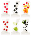 Colorful fresh fruits falling into the milky splash. - PhotoDune Item for Sale