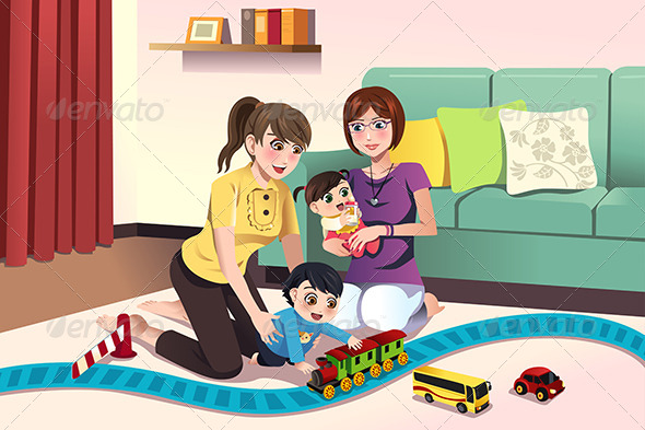 GraphicRiver Parents Playing with their Kids 8526971