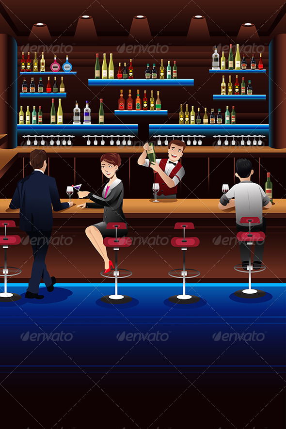GraphicRiver Bartender Working in a Bar 8527014