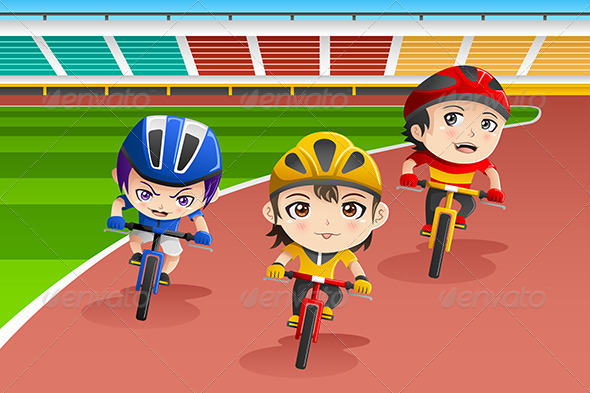 GraphicRiver Kids in a Bicycle Race 8527023