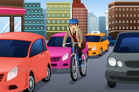 GraphicRiver Businessman Biking in the City 8527033