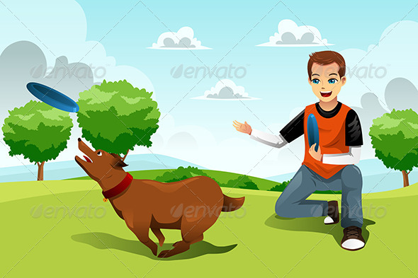 GraphicRiver Man Playing Frisbee with his Dog 8527035