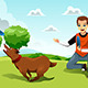 Man Playing Frisbee with his Dog - GraphicRiver Item for Sale
