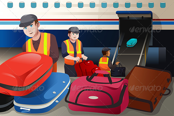 GraphicRiver Workers Loading Luggage into an Airplane 8527041