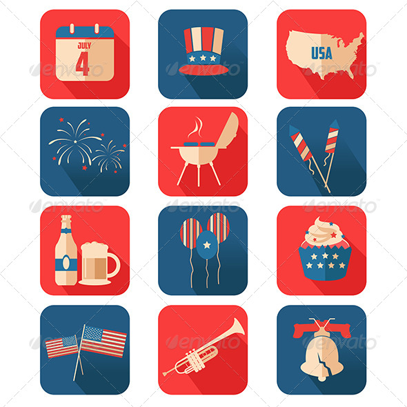 GraphicRiver Fourth of July Icons 8527093