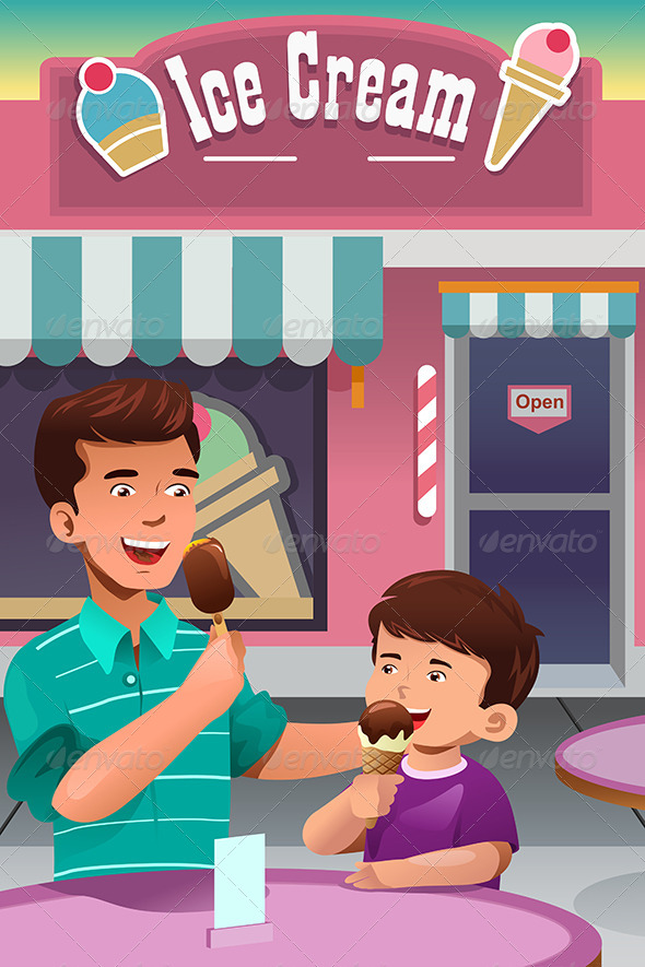 GraphicRiver Father and Son Eating Ice Cream 8527097