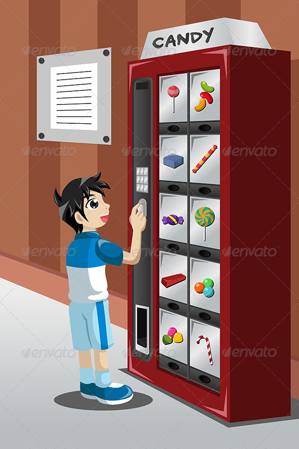 GraphicRiver Kid Buying Candy from a Vending Machine 8527101