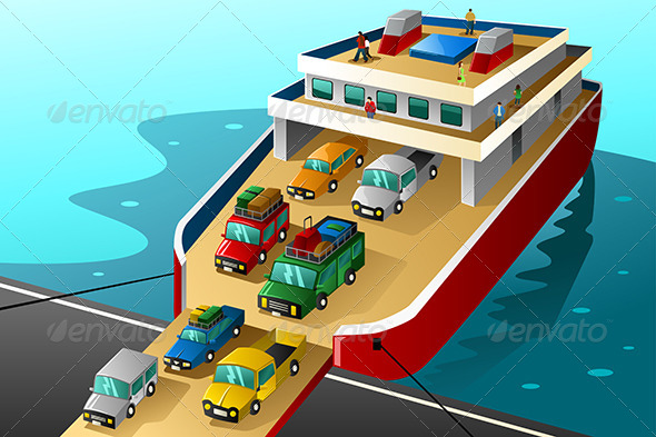 GraphicRiver Cars in Vacation going into a Big Ferry 8527103