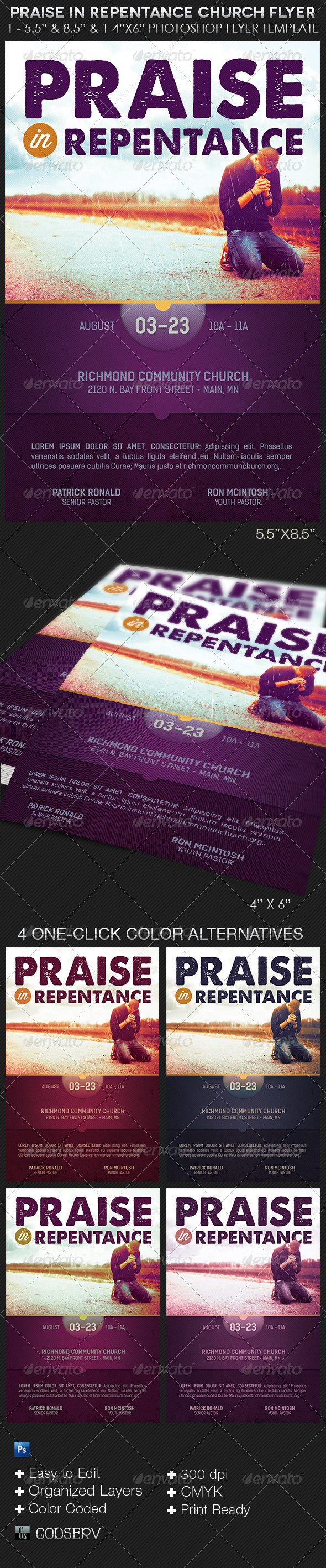 GraphicRiver Praise In Repentance Church Flyer Template 8527105