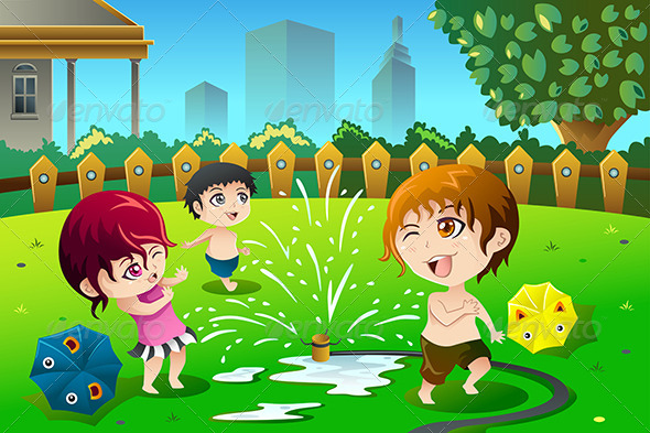GraphicRiver Children Playing with Sprinkler Water 8527106