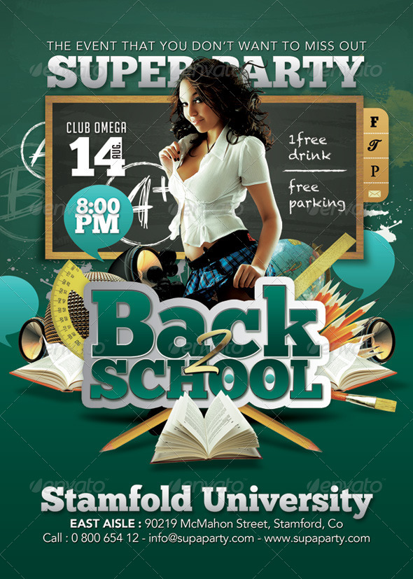 GraphicRiver Back To school Super University Party 8523839