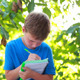 Boy Sitting On Bench Near Trees And Writing - VideoHive Item for Sale