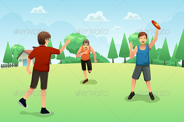 GraphicRiver Young People Playing Frisbee 8527304